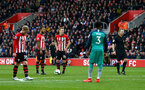 SOUTHAMPTON, ENGLAND - MARCH 09:  James Ward-Prowse of Southampton (middle) lines up a free kick during the Premier League match between Southampton FC and Tottenham Hotspur at St Mary's Stadium on March 09, 2019 in Southampton, United Kingdom. (Photo by James Bridle - Southampton FC/Southampton FC via Getty Images)