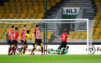 WOLVERHAMPTON, ENGLAND - MARCH 05:  Harry lewis makes a save for Southampton FC during the PL2 U23's match between Wolverhampton Wanders and Southampton FC at Molineux Stadium in Wolverhampton, England, on March 05, 2019 (Photo by James Bridle - Southampton FC/Southampton FC via Getty Images)