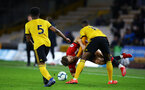 WOLVERHAMPTON, ENGLAND - MARCH 05:  Sam Gallagher is tackled (middle) during the PL2 U23's match between Wolverhampton Wanders and Southampton FC at Molineux Stadium in Wolverhampton, England, on March 05, 2019 (Photo by James Bridle - Southampton FC/Southampton FC via Getty Images)