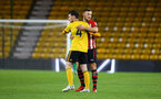WOLVERHAMPTON, ENGLAND - MARCH 05:  Harry Hamblin (right) after the final whistle for the PL2 U23's match between Wolverhampton Wanders and Southampton FC at Molineux Stadium in Wolverhampton, England, on March 05, 2019 (Photo by James Bridle - Southampton FC/Southampton FC via Getty Images)