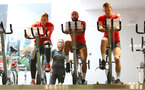 L to R Matt Targett, Nathan Redmond and James Ward-Prowse during a Southampton gym session, at the Staplewood Campus, Southampton, 12th March 2019