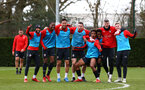 SOUTHAMPTON, ENGLAND - MARCH 13: LtoR Nathan Redmond, Kayne Ramsay, Maya Yoshida, Pierre-Emile Hojbjerg, Mario Lemina,  Nathan Tella, Fraser Forster, Matt Target after winning a training tournament against the rest of the team during a Southampton FC training session at Staplewood Complex on March 13, 2019 in Southampton, England. (Photo by James Bridle - Southampton FC/Southampton FC via Getty Images)