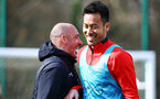 SOUTHAMPTON, ENGLAND - MARCH 13: LtoR Assistant coach Craig Fleming and Maya Yoshida during a Southampton FC training session at Staplewood Complex on March 13, 2019 in Southampton, England. (Photo by James Bridle - Southampton FC/Southampton FC via Getty Images)