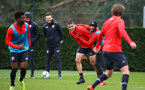 SOUTHAMPTON, ENGLAND - MARCH 13: Nathan Redmond tries to jump on Oriol Romeu's back during a Southampton FC training session at Staplewood Complex on March 13, 2019 in Southampton, England. (Photo by James Bridle - Southampton FC/Southampton FC via Getty Images)