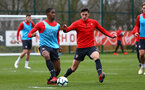 SOUTHAMPTON, ENGLAND - MARCH 13: LtoR Kayne Ramsay Alfie Jones during a Southampton FC training session at Staplewood Complex on March 18, 2019 in Southampton, England. (Photo by James Bridle - Southampton FC/Southampton FC via Getty Images)