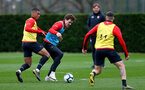 Yan Valery(L) and Sam Gallagher during Southampton FC training session at the Staplewood Campus, Southampton, 22nd March 2019