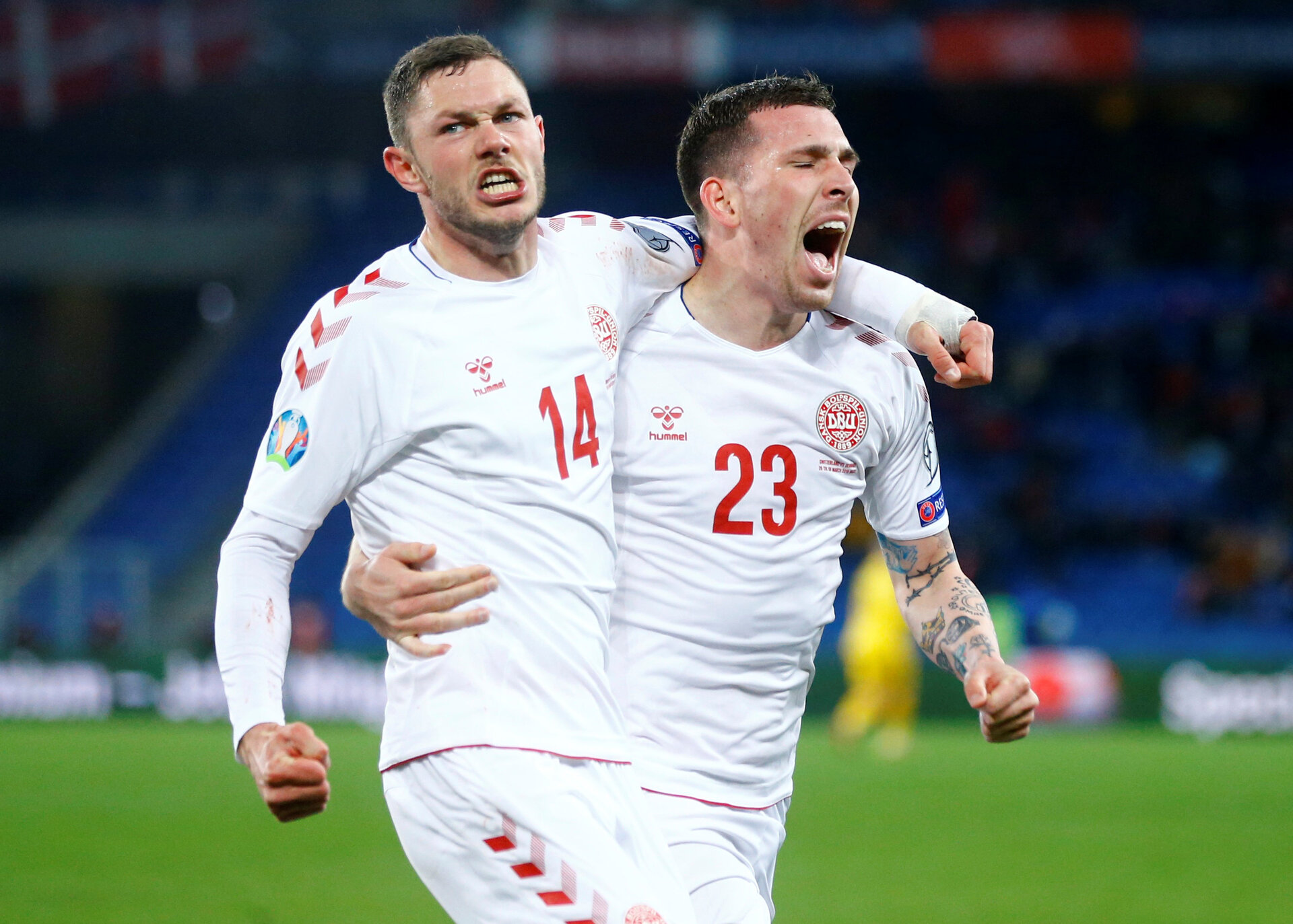 Soccer Football - Euro 2020 Qualifier - Group D - Switzerland v Denmark - St. Jakob-Park, Basel, Switzerland - March 26, 2019  Denmark's Henrik Dalsgaard celebrates scoring their third goal with Pierre-Emile Hojbjerg  REUTERS/Arnd Wiegmann