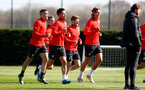 SOUTHAMPTON, ENGLAND - MARCH 27: Players warm up during a Southampton FC training session at the Staplewood Campus on March 27, 2019 in Southampton, England. (Photo by Matt Watson/Southampton FC via Getty Images)