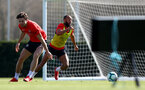 SOUTHAMPTON, ENGLAND - MARCH 27: Sam Gallagher(L) and Nathan Redmond during a Southampton FC training session at the Staplewood Campus on March 27, 2019 in Southampton, England. (Photo by Matt Watson/Southampton FC via Getty Images)