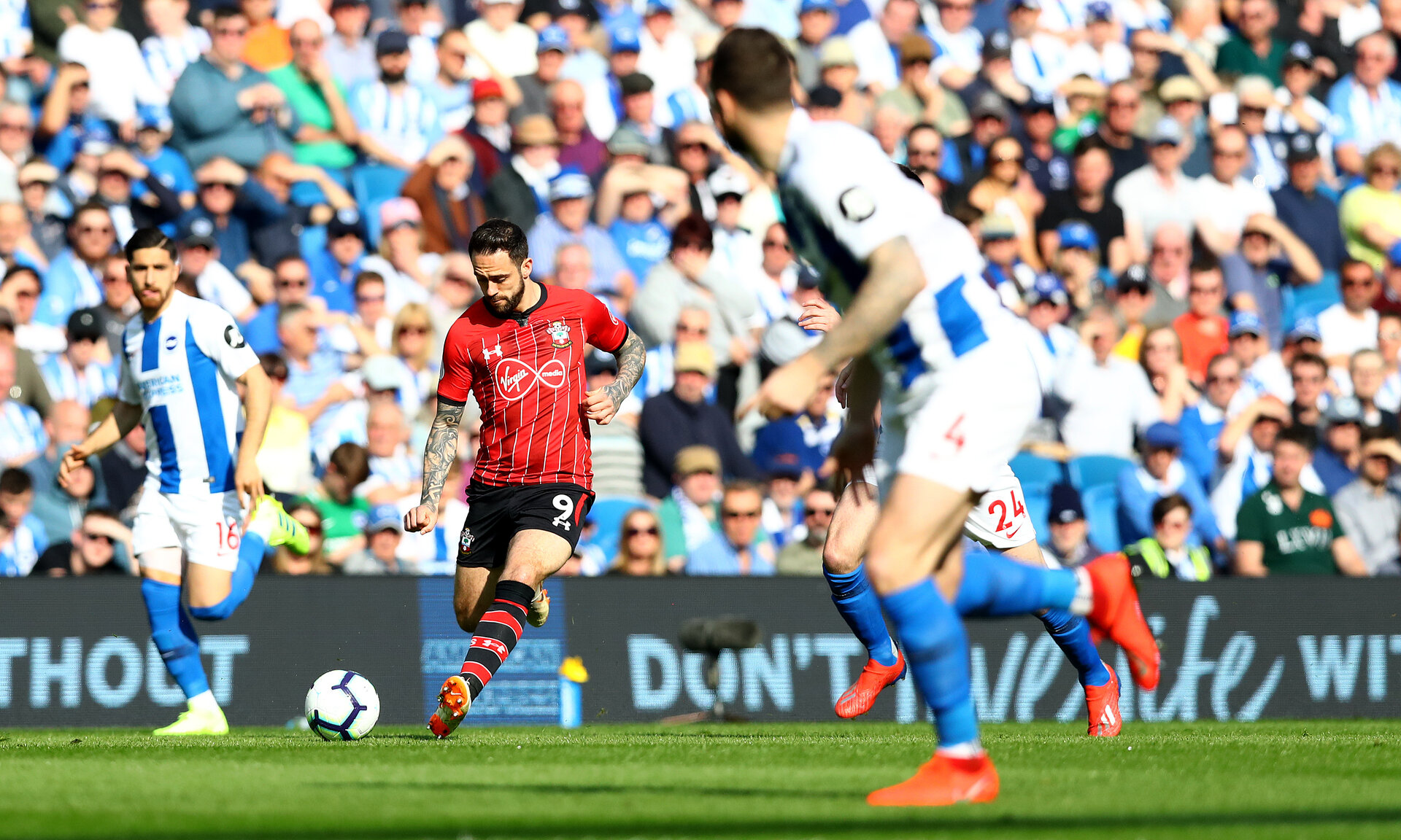 BRIGHTON, ENGLAND - MARCH 30: Danny Ings of Southampton during the Premier League match between Brighton & Hove Albion and Southampton FC at American Express Community Stadium on March 30, 2019 in Brighton, United Kingdom. (Photo by Matt Watson/Southampton FC via Getty Images)