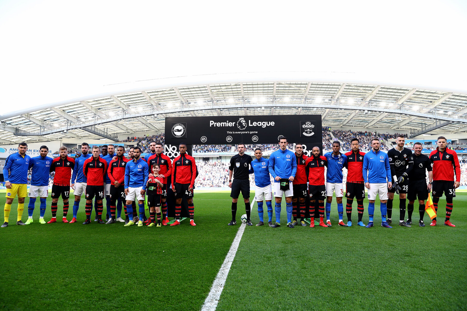 BRIGHTON, ENGLAND - MARCH 30: teams come together ahead of the Premier League match between Brighton & Hove Albion and Southampton FC at American Express Community Stadium on March 30, 2019 in Brighton, United Kingdom. (Photo by Matt Watson/Southampton FC via Getty Images)