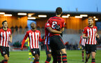 SOUTHAMPTON, ENGLAND - APRIL 05:  Tom O'Connor scores and celebrates with Dan Nlundulu during the U23's PL2 match between Southampton FC and Norwich City pictured at Staplewood Complex on April 05, 2019 in Southampton, England. (Photo by James Bridle - Southampton FC/Southampton FC via Getty Images)