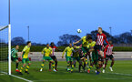 SOUTHAMPTON, ENGLAND - APRIL 05:  Christoph Klarer makes a header (right) during the U23's PL2 match between Southampton FC and Norwich City pictured at Staplewood Complex on April 05, 2019 in Southampton, England. (Photo by James Bridle - Southampton FC/Southampton FC via Getty Images)