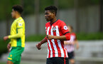 SOUTHAMPTON, ENGLAND - APRIL 05:  Nathan Tella during the U23's PL2 match between Southampton FC and Norwich City pictured at Staplewood Complex on April 05, 2019 in Southampton, England. (Photo by James Bridle - Southampton FC/Southampton FC via Getty Images)