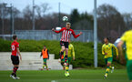 SOUTHAMPTON, ENGLAND - APRIL 05:  Christoph Klarer (middle) during the U23's PL2 match between Southampton FC and Norwich City pictured at Staplewood Complex on April 05, 2019 in Southampton, England. (Photo by James Bridle - Southampton FC/Southampton FC via Getty Images)