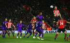 SOUTHAMPTON, ENGLAND - APRIL 05: Maya Yoshida(R) of Southampton during the Premier League match between Southampton FC and Liverpool FC at St Mary's Stadium on April 6, 2019 in Southampton, United Kingdom. (Photo by Matt Watson/Southampton FC via Getty Images)