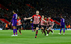 SOUTHAMPTON, ENGLAND - APRIL 05: Shane Long of Southampton celebrates after opening the scoring during the Premier League match between Southampton FC and Liverpool FC at St Mary's Stadium on April 6, 2019 in Southampton, United Kingdom. (Photo by Matt Watson/Southampton FC via Getty Images)