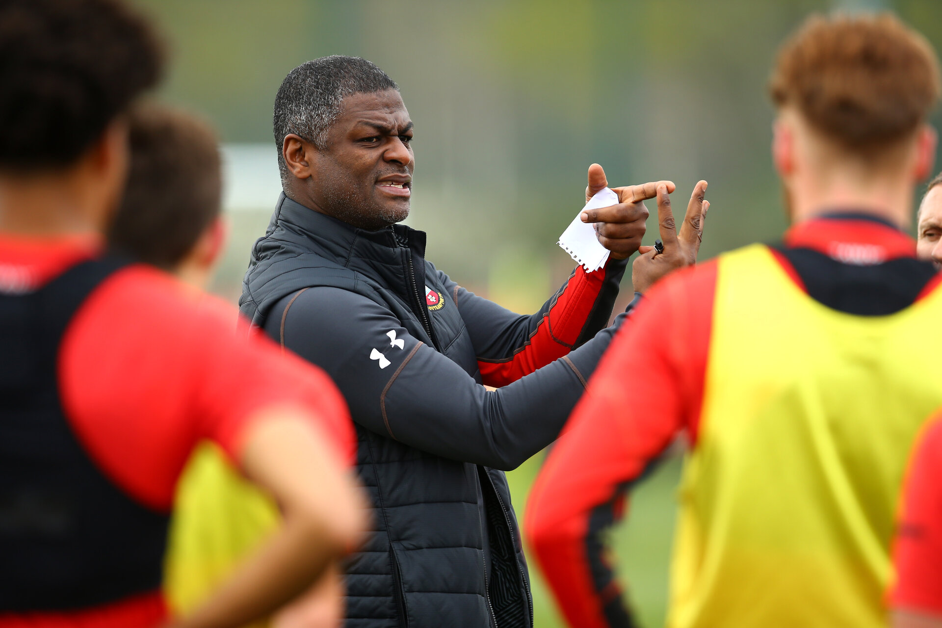 SOUTHAMPTON, ENGLAND - APRIL 08: Radhi Jaidi speaks with the players during an U23s Southampton FC training session at Staplewood Complex on April 08, 2019 in Southampton, England. (Photo by James Bridle - Southampton FC/Southampton FC via Getty Images)