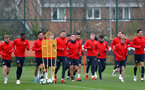 SOUTHAMPTON, ENGLAND - APRIL 09: Players warm up during a training session at the Staplewood Campus on April 09, 2019 in Southampton, England. (Photo by Matt Watson/Southampton FC via Getty Images)