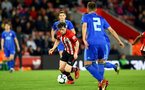 SOUTHAMPTON, ENGLAND - APRIL 10: Will Ferry shoots (left) during the International PL Cup match between Southampton FC and Dinamo Zagreb, pictured at St. Mary's Stadium on April 10, 2019 in Southampton, England. (Photo by James Bridle - Southampton FC/Southampton FC via Getty Images) (Photo by James Bridle - Southampton FC/Southampton FC via Getty Images)