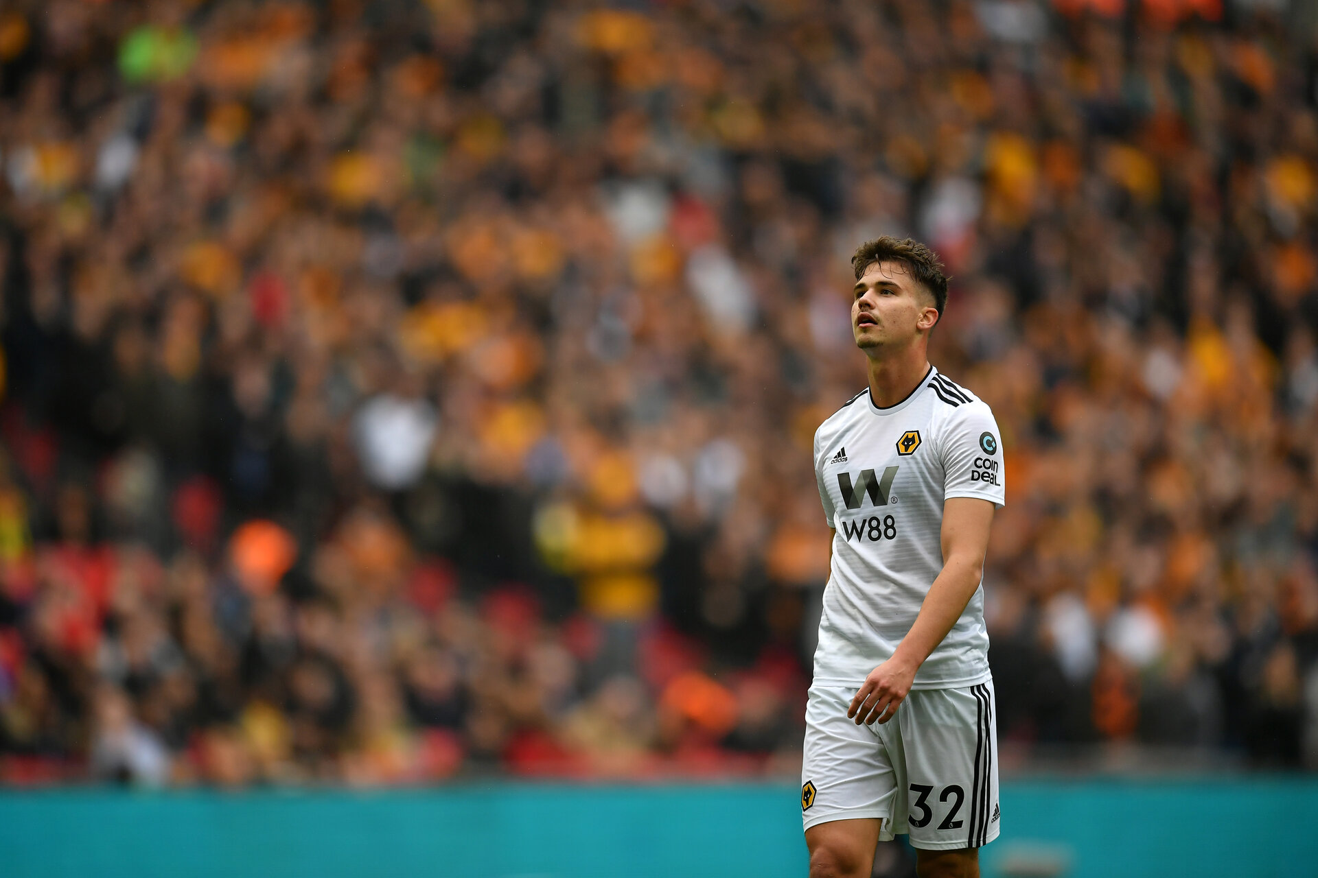 LONDON, ENGLAND - APRIL 07:  Leander Dendoncker of Wolverhampton Wanderers looks on during the FA Cup Semi Final match between Watford and Wolverhampton Wanderers at Wembley Stadium on April 07, 2019 in London, England. (Photo by Dan Mullan/Getty Images)