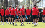 SOUTHAMPTON, ENGLAND - APRIL 11: Danny Ings(L) and Charlie Austin during a Southampton FC training session at the Staplewood Campus on April 11, 2019 in Southampton, England. (Photo by Matt Watson/Southampton FC via Getty Images)