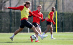 SOUTHAMPTON, ENGLAND - APRIL 11: Jannik Vestergaard(L) and Matt Targett during a Southampton FC training session at the Staplewood Campus on April 11, 2019 in Southampton, England. (Photo by Matt Watson/Southampton FC via Getty Images)