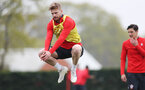 SOUTHAMPTON, ENGLAND - APRIL 16: Stuart Armstrong jumps during a Southampton FC training session at the Staplewood Campus on April 16, 2019 in Southampton, England. (Photo by Matt Watson/Southampton FC via Getty Images)