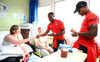 SOUTHAMPTON, ENGLAND - APRIL 17: Michael Obafemi(L) and Mario Lemina as Southampton FC staff and players visit Southampton General Hospital, on April 17, 2019 in Southampton, England. (Photo by Matt Watson/Southampton FC via Getty Images)