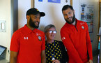 SOUTHAMPTON, ENGLAND - APRIL 17: LtoR Nathan Redmond, Charlie Austin of Southampton FC visits Southampton General Hospital pictured with patients and staff on April 17, 2019 in Southampton, England. (Photo by James Bridle - Southampton FC/Southampton FC via Getty Images)