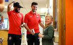 SOUTHAMPTON, ENGLAND - APRIL 17: LtoR Nathan Redmond, Shane Long of Southampton FC visits Southampton General Hospital pictured with patients and staff on April 17, 2019 in Southampton, England. (Photo by James Bridle - Southampton FC/Southampton FC via Getty Images)