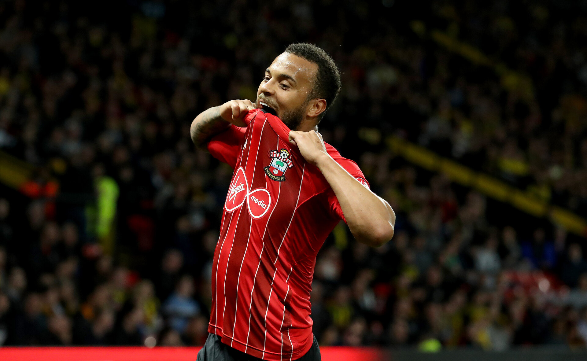 WATFORD, ENGLAND - APRIL 23: Ryan Bertrand of Southampton during the Premier League match between Watford FC and Southampton FC at Vicarage Road on April 23, 2019 in Watford, United Kingdom. (Photo by Matt Watson/Southampton FC via Getty Images)