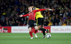 WATFORD, ENGLAND - APRIL 23: Josh Sims of Southampton is fouled by Adam Masina of Watford during the Premier League match between Watford FC and Southampton FC at Vicarage Road on April 23, 2019 in Watford, United Kingdom. (Photo by Matt Watson/Southampton FC via Getty Images)