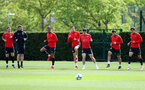 SOUTHAMPTON, ENGLAND - APRIL 25: Players warm up during a Southampton FC training session at the Staplewood Campus on April 25, 2019 in Southampton, England. (Photo by Matt Watson/Southampton FC via Getty Images)