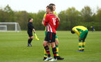 NORWICH, ENGLAND - APRIL 27: Sean Keogh shakes with he opposition after the final whistle is blown for the last game of the season for the U18 Premier League match between Norwich City FC and Southampton FC pictured at Colney Training Ground on April 27, 2019 in Norwich, England. (Photo by James Bridle - Southampton FC/Southampton FC via Getty Images)