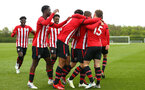 NORWICH, ENGLAND - APRIL 27: Sean Keogh scores and celebrates with the team during a U18 Premier League match between Norwich City FC and Southampton FC pictured at Colney Training Ground on April 27, 2019 in Norwich, England. (Photo by James Bridle - Southampton FC/Southampton FC via Getty Images)