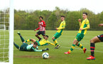 NORWICH, ENGLAND - APRIL 27: Caleb Watts (middle) assists Christian Norton in scoring during a U18 Premier League match between Norwich City FC and Southampton FC pictured at Colney Training Ground on April 27, 2019 in Norwich, England. (Photo by James Bridle - Southampton FC/Southampton FC via Getty Images)