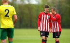 NORWICH, ENGLAND - APRIL 27: LtoR James Morris, Kornelius Hansen during a U18 Premier League match between Norwich City FC and Southampton FC pictured at Colney Training Ground on April 27, 2019 in Norwich, England. (Photo by James Bridle - Southampton FC/Southampton FC via Getty Images)