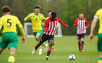 NORWICH, ENGLAND - APRIL 27: Rowland Idowu  (middle) during a U18 Premier League match between Norwich City FC and Southampton FC pictured at Colney Training Ground on April 27, 2019 in Norwich, England. (Photo by James Bridle - Southampton FC/Southampton FC via Getty Images)