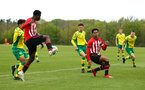 NORWICH, ENGLAND - APRIL 27: Rowland Idowu  and Christian Norton can't make good contact with the ball as its crossed into the box during a U18 Premier League match between Norwich City FC and Southampton FC pictured at Colney Training Ground on April 27, 2019 in Norwich, England. (Photo by James Bridle - Southampton FC/Southampton FC via Getty Images)