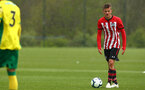 NORWICH, ENGLAND - APRIL 27: Kornelius Hansen takes a free kick during a U18 Premier League match between Norwich City FC and Southampton FC pictured at Colney Training Ground on April 27, 2019 in Norwich, England. (Photo by James Bridle - Southampton FC/Southampton FC via Getty Images)