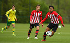 NORWICH, ENGLAND - APRIL 27: Christian Norton (right) during a U18 Premier League match between Norwich City FC and Southampton FC pictured at Colney Training Ground on April 27, 2019 in Norwich, England. (Photo by James Bridle - Southampton FC/Southampton FC via Getty Images)