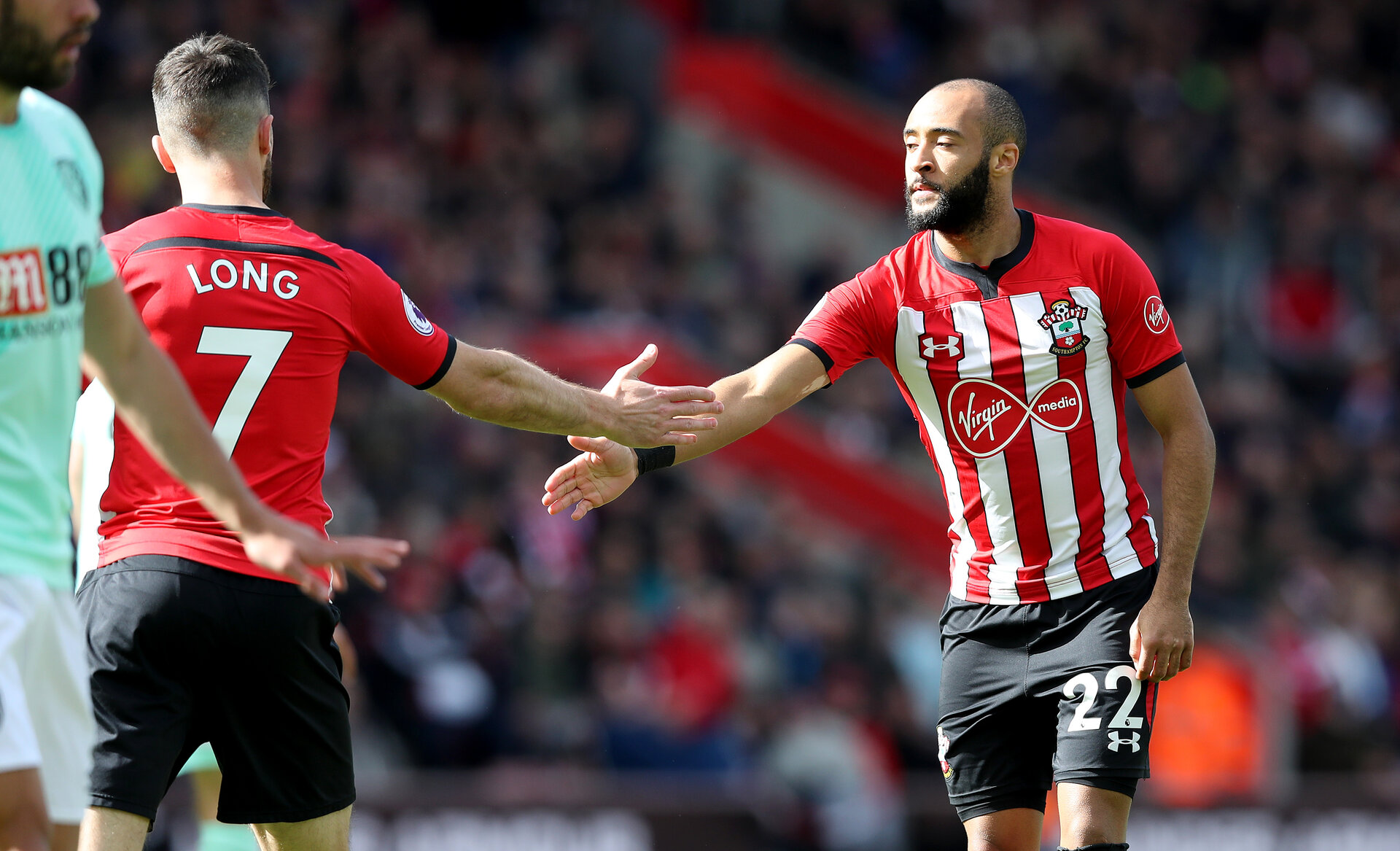 SOUTHAMPTON, ENGLAND - APRIL 27: Shane Long(L) and Nathan Redmond of Southampton during the Premier League match between Southampton FC and AFC Bournemouth at St Mary's Stadium on April 27, 2019 in Southampton, United Kingdom. (Photo by Matt Watson/Southampton FC via Getty Images)