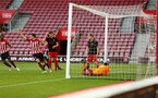 SOUTHAMPTON, ENGLAND - APRIL 29: Christoph Klarer scores from a header (out of frame) during the Premier League 2 match between Southampton FC and Sunderland pictured at St Mary's Stadium on April 29, 2019 in Southampton, England. (Photo by James Bridle - Southampton FC/Southampton FC via Getty Images)