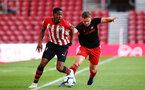 SOUTHAMPTON, ENGLAND - APRIL 29: Kayne Ramsay (left) during the Premier League 2 match between Southampton FC and Sunderland pictured at St Mary's Stadium on April 29, 2019 in Southampton, England. (Photo by James Bridle - Southampton FC/Southampton FC via Getty Images)