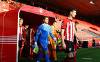 SOUTHAMPTON, ENGLAND - APRIL 29: Tom O'Connor  (right) ahead of KO for the Premier League 2 match between Southampton FC and Sunderland pictured at St Mary's Stadium on April 29, 2019 in Southampton, England. (Photo by James Bridle - Southampton FC/Southampton FC via Getty Images)