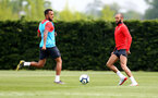 SOUTHAMPTON, ENGLAND - MAY 01: Ryan Bertrand(L) and Nathan Redmond during a Southampton FC training session at the Staplewood Campus on May 01, 2019 in Southampton, England. (Photo by Matt Watson/Southampton FC via Getty Images)