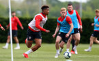 SOUTHAMPTON, ENGLAND - MAY 01: Mario Lemina(L) and Josh Sims during a Southampton FC training session at the Staplewood Campus on May 01, 2019 in Southampton, England. (Photo by Matt Watson/Southampton FC via Getty Images)