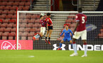 SOUTHAMPTON, ENGLAND - MAY 03: Oludare Olufunwa makes a jump (middle) for the ball as it enters the box during the U23s PL2 Play off Semi-Final between Southampton FC and Aston Villa FC pictured at St Mary's Stadium on May 03, 2019 in Southampton, England. (Photo by James Bridle - Southampton FC/Southampton FC via Getty Images)