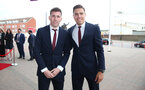 Pierre-Emile Hojbjerg(L) and Jan Bednarek during the 2018/19 Southampton FC Player Awards night, at St Mary's Stadium, Southampton, 7th May 2019